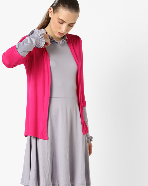 Open-Front Shrug With Three-Quarter Sleeves By And ( Pink )