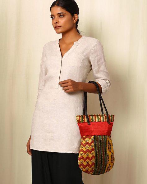 Handblock Print Mashru Silk Tote Bag By Indie Picks ( Multi ) - 460059236001