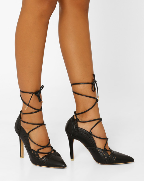 Pointed Toe Lace-Up Heeled Shoes By AJIO ( Black )