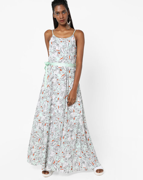 Floral Print Strappy Dress With Sash By Sassafras ( Green )