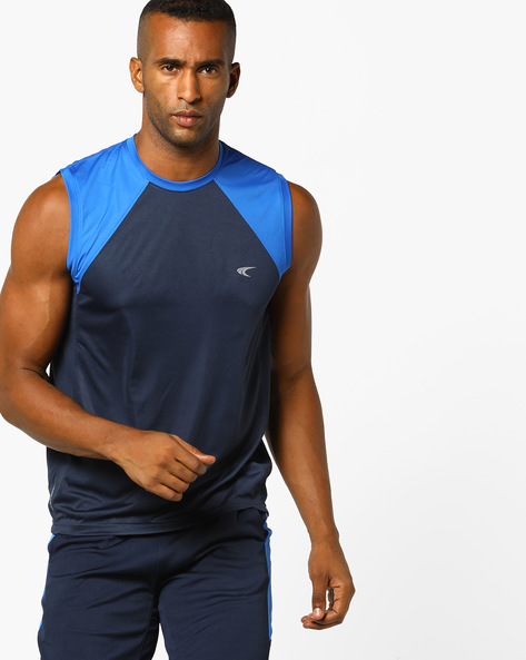 Sleeveless Training T-shirt With Contrast Panel By PERFORMAX ( Navy )
