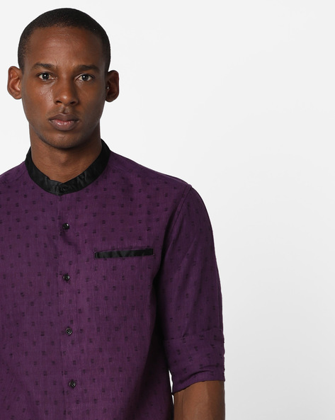 Patterned Slim Shirt By The Indian Garage Co ( Purple )