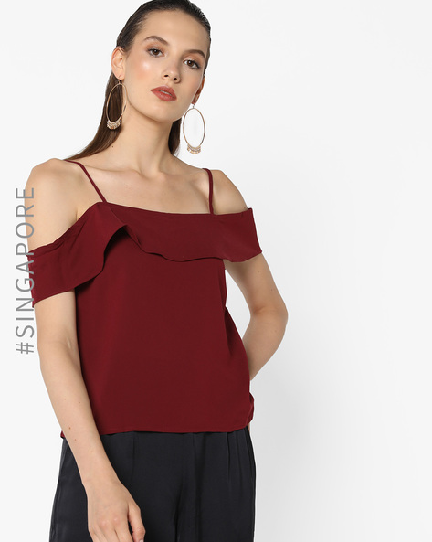 Strappy Cold-Shoulder Top By MDS ( Red )