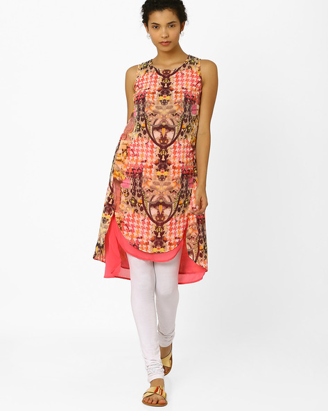 Printed Layered Tunic By Biba ( Peach )