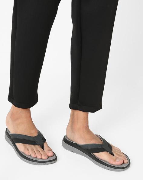 Genuine Leather Flip-Flops By CLARKS ( Black )