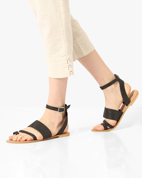 Ankle-Strap Flats With Buckle Closure By AJIO ( Black )