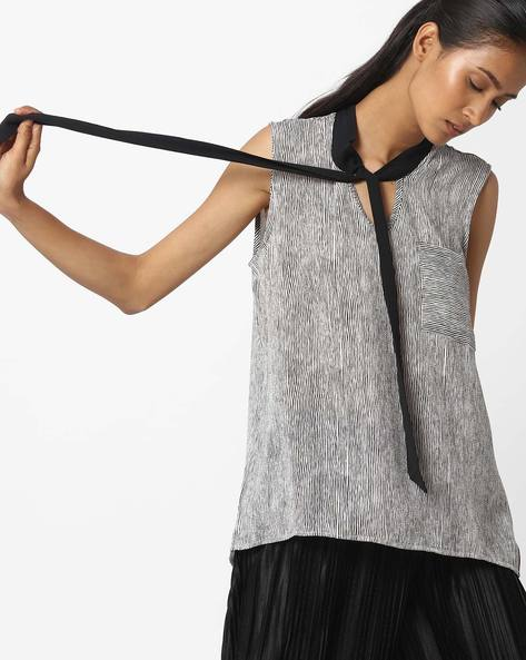Striped Sleeveless Top With Tie-Up By Ginger By Lifestyle ( Black )