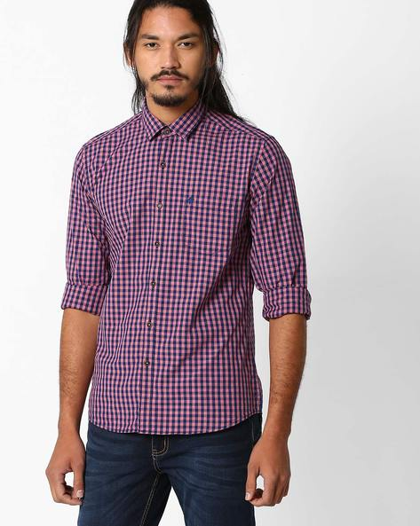 Regular Fit Checked Shirt By NETPLAY ( Red )