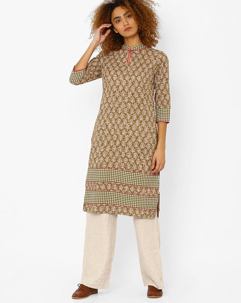 Printed Straight Kurta With Contrast Panels By AJIO ( Olive )