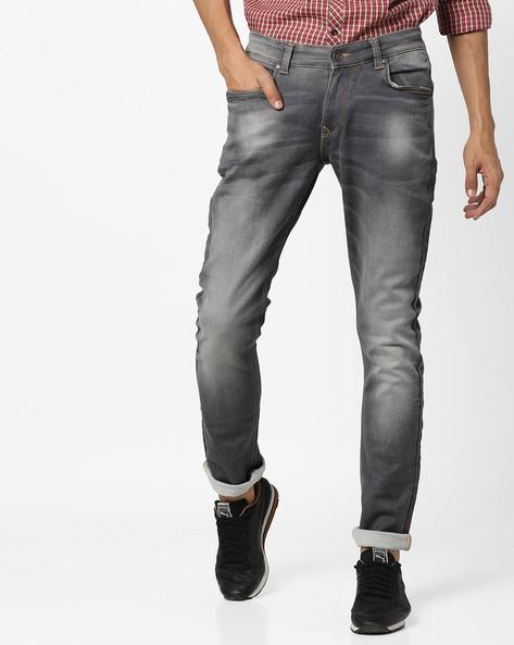 Lightly Washed Slim Fit Jeans By SPYKAR ( Grey )