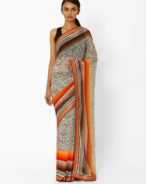 Printed Saree With Blouse Piece By Akoya ( Birch )