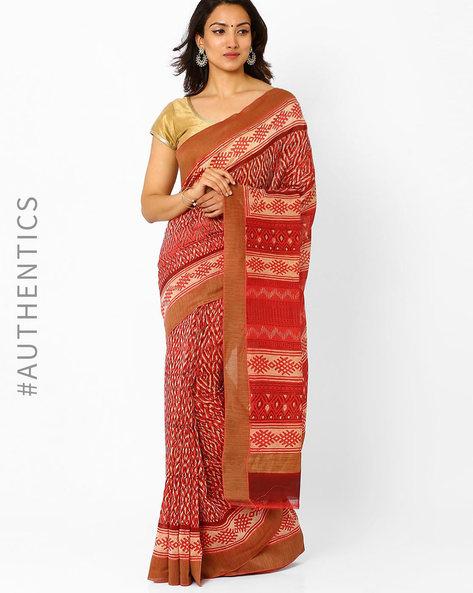 Bagru Print Chanderi Saree With Ghicha Border By Indie Picks ( Multi ) - 460016690001