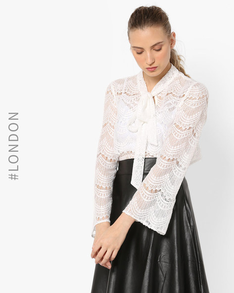 Embroidered Lace Top With Flared Sleeves By Closet London ( White )