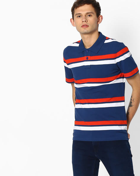 Slim Fit Striped Polo T-shirt By Blue Saint ( Multicolor ) - 460077172001