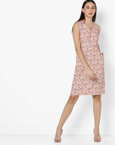 Floral Print Sheath Dress By Project Eve WW Work ( Peach )