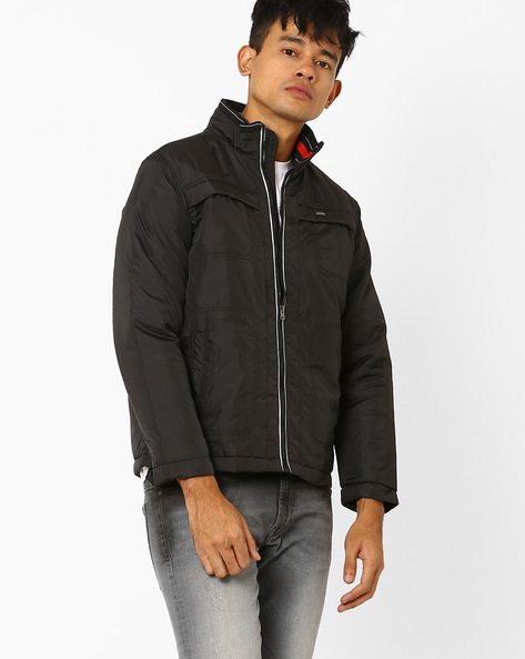 Bomber Jacket With High Collar By DUKE ( Black )