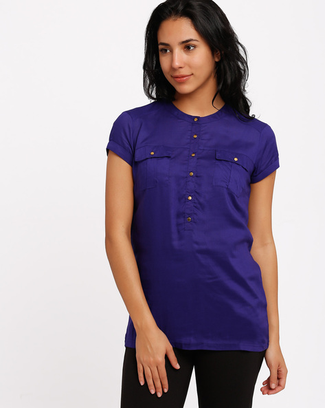 Top With Mandarin Collar By Izabel London By Pantaloons ( Purple )