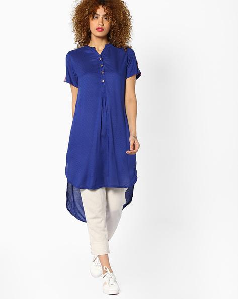 Self-Design High-Low Kurta By Global Desi ( Blue )