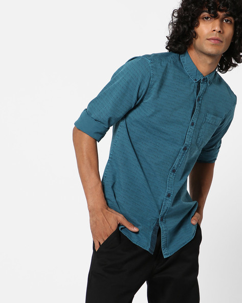 Printed Shirt With Patch Pocket By AJIO ( Teal )
