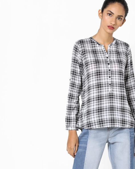 Checked Shirt With Notched Neckline By Fame Forever By Lifestyle ( Black )