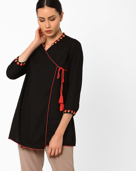 Angrakha Tunic With Embroidery By AJIO ( Black )