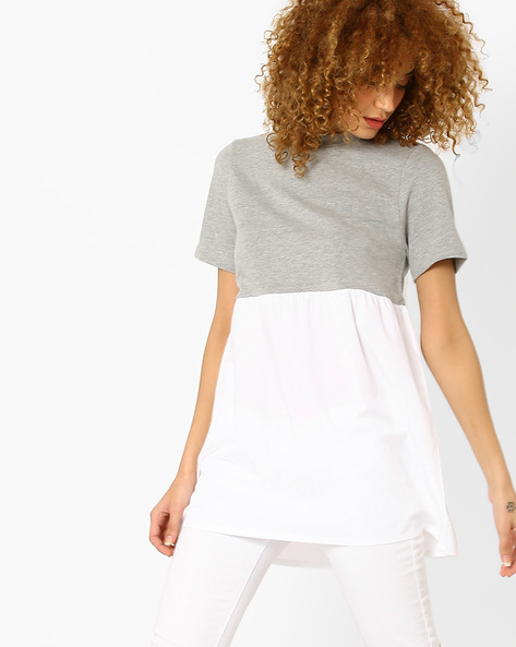 Colourblock Crew-Neck Top By Vero Moda ( Lightgrey )