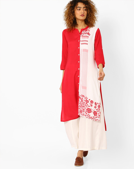 Printed Straight Kurta With High-Low Hem By AVAASA MIX N' MATCH ( Coral )