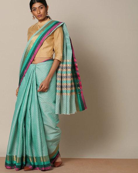 Kanchi Textured Cotton Saree With Zari Border By Indie Picks ( Green )