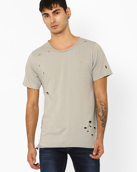 Ripped Longline Slim Fit T-shirt By ADAMO LONDON ( Grey )