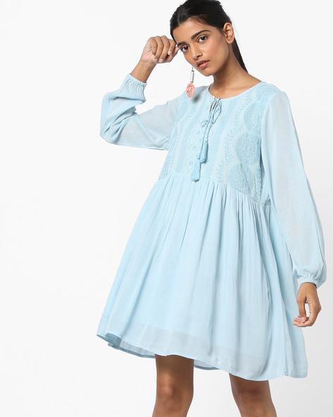 A-line Dress With Embroidered Yoke By AJIO ( Blue )