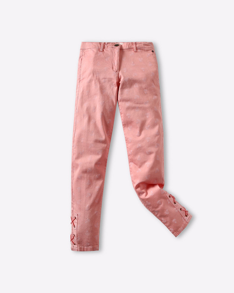 Printed Slim Pants With Lace-Up Fastening By POINT COVE ( Pink )