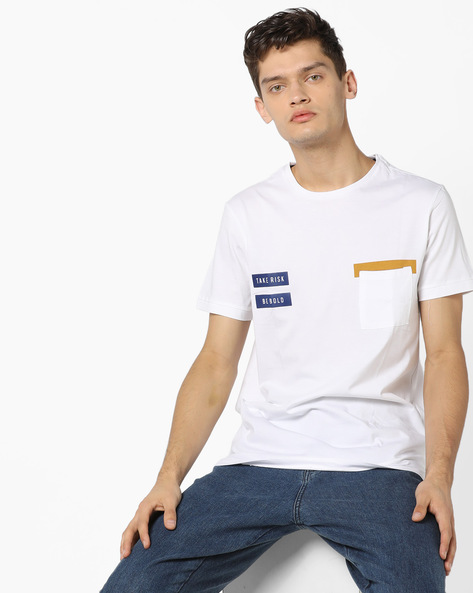 Crew-Neck T-shirt With Patch Pocket By AJIO ( White )