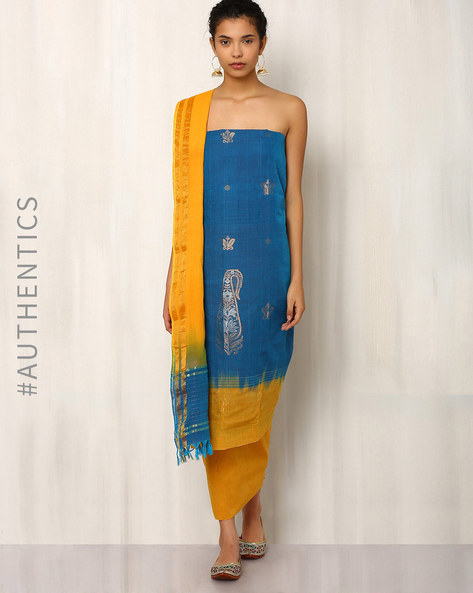 Handwoven Cotton Dress Material Set By Indie Picks ( Yellow ) - 460012605001
