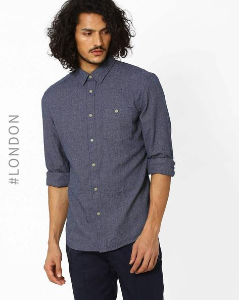 Cotton Shirt With Buttoned Patch Pocket By Marks & Spencer ( Indigo )