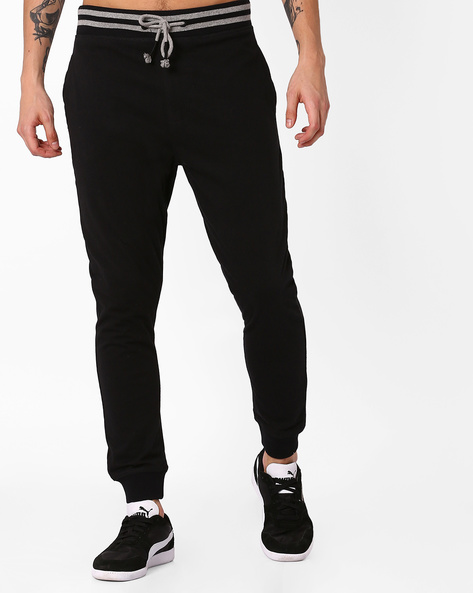 Jogger Fit Track Pants By BASICS ( Black )