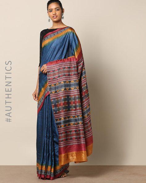 Handblock Print Pure Silk Tussar Handloom Saree By Indie Picks ( Multi ) - 460177020001