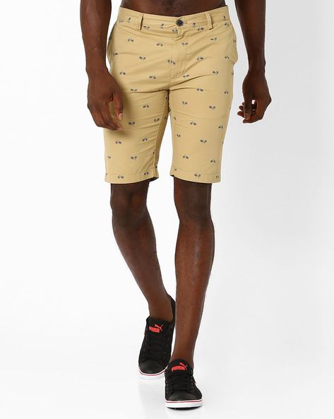 Printed Slim Fit Shorts By INDIAN TERRAIN ( Khaki )