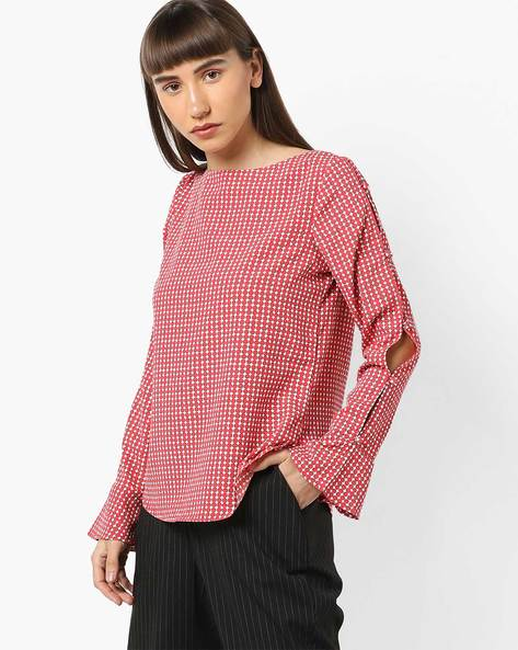Printed Top With Flared Sleeve Hems By AJIO ( Red )