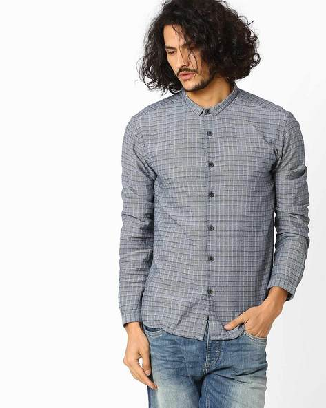 Checked Slim Fit Shirt By VOI JEANS ( Indigo )