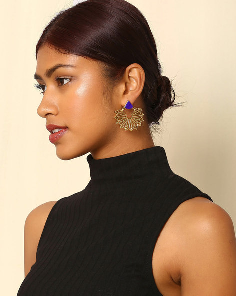 Gold-Plated Cutwork Earrings By Indie Picks ( Multi )