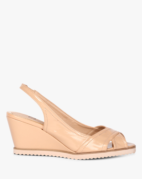 Ankle-Strap Peep-Toe Wedges By Carlton London ( Nude )