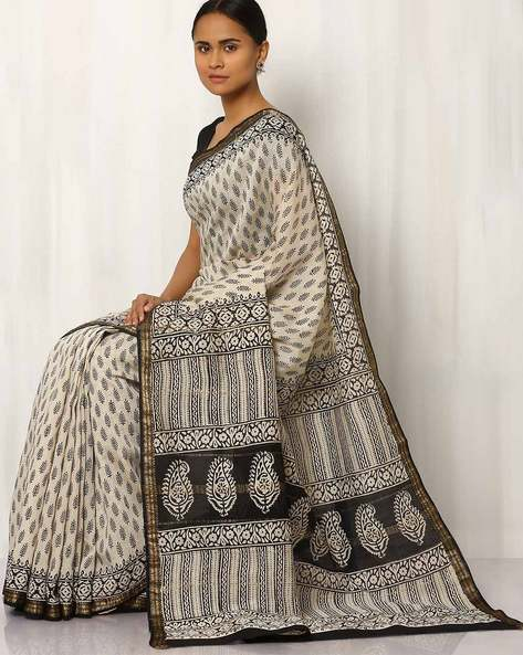 Maheshwari Hand Block Printed Cotton Saree By Rudrakaashe-MSU ( Offwhite ) - 460017581001