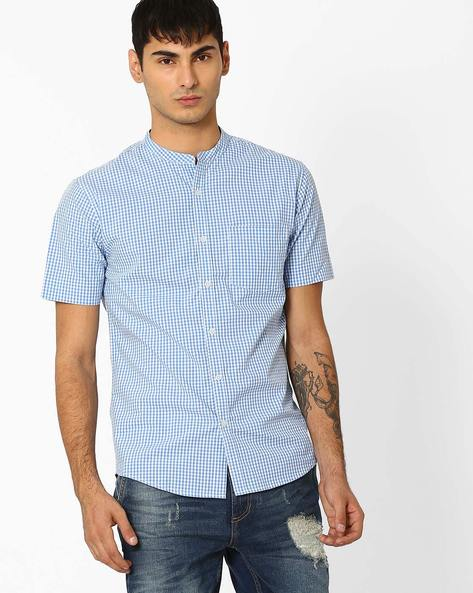 Checked Slim Fit Shirt With Mandarin Collar By VOI JEANS ( Blue )