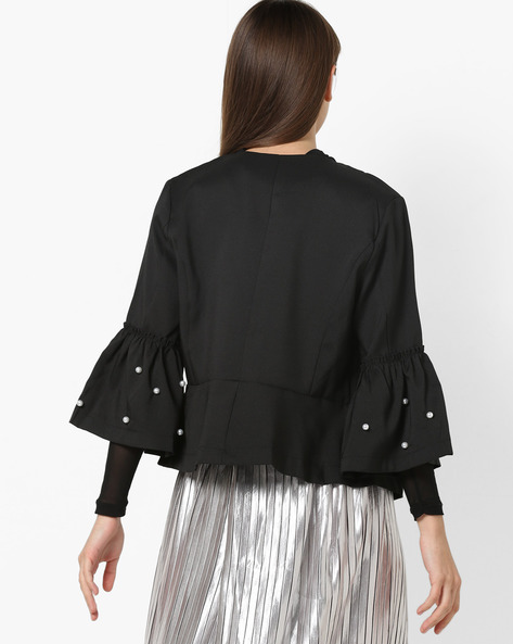 Open-Front Top With Embellished Sleeves By OEUVRE ( Black )