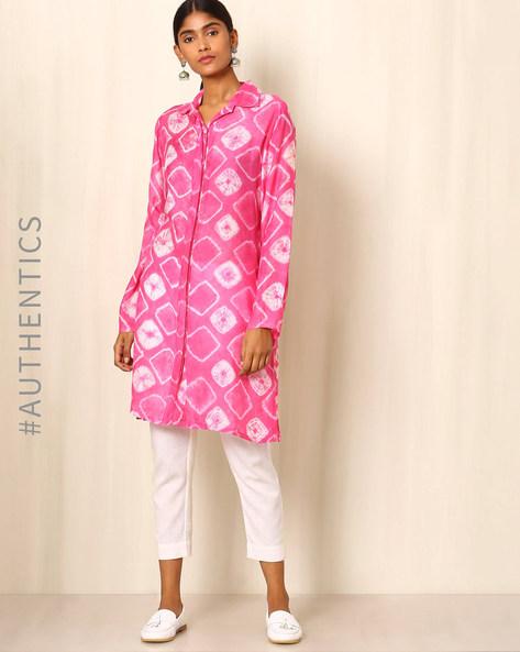 Shibori Cotton Silk Kurta By Ek Taara ( Pink )