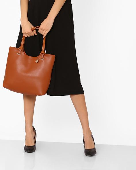 Hobo Bag With Flat Handles By Lino Perros ( Tan )
