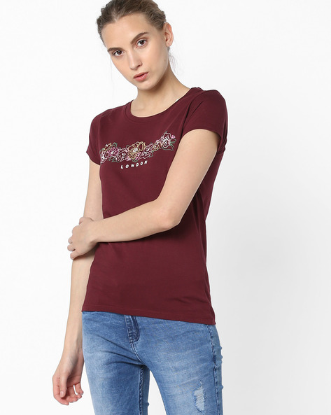 Printed Crew-Neck T-shirt By Pepe Jeans ( Red )