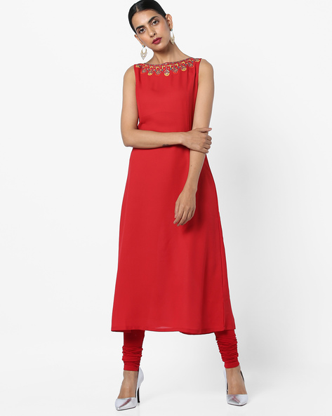 Princess-Seam Dress With Embellished Neckline By AJIO ( Red )