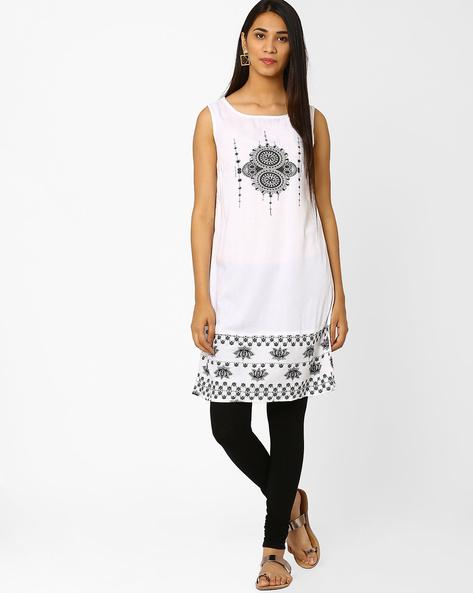 Printed Sleeveless Kurti By Akkriti By Pantaloons ( White )