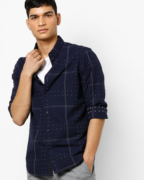 Printed Shirt With Woven Motifs By AJIO ( Navy )
